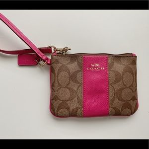 coach brown and pink wristlet purse